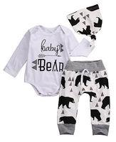 3PCS Set Toddler Baby Girls Boys Autumn Cotton Beige Long Sleeve Bear Romper Long Pants Hat