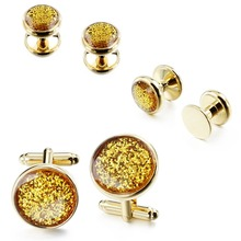 Yellow Crystal Dust Cufflinks Studs For mens Tuxedo Shirt Fashion Groomsmen Wedding Gift with Box
