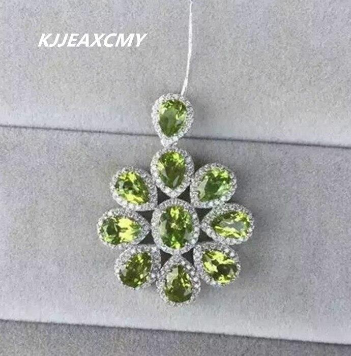 KJJEAXCMY boutique bijoux, dames péridot naturel pendentif bijoux en gros S925 en argent Sterling