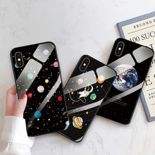 For iPhone 6 6S 7 8 Plus Glossy Tempered Glass Phone Case For iPhone 5 5S SE Cover Colorful Planet For iPhone X XR XS Max Shell black cover japanese samurai for iphone x xr xs max for iphone 8 7 6 6s plus 5s 5 se super bright glossy phone case