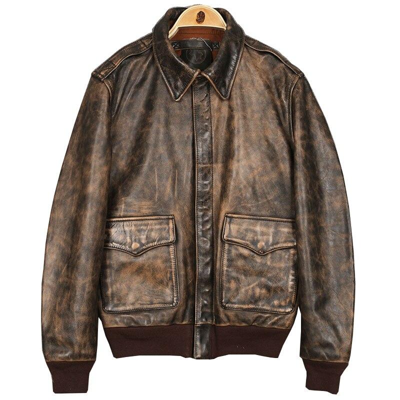 2019 Винтаж коричневый военный A2 пилотный кожаный жакет плюс Размеры XXXL подлинной толстые теплые короткие полета кожаные пальто Бесплатная д