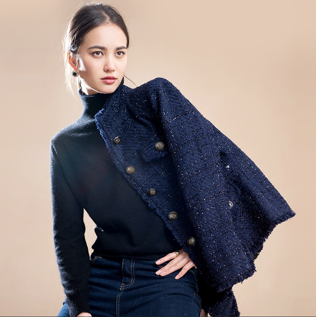 Navy blue tweed jacket spring / autumn /winter women's jacket coat ...