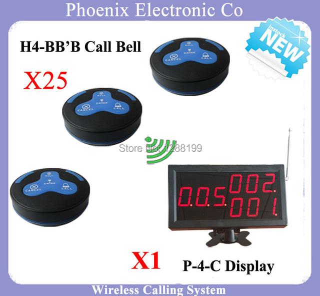 Nova Chegada 315 mhz o garçom chamando Sistema incluindo pager restaurante, 1 pcs LED Display P-4-C & 25 pcs H4 lâmpada de Mesa Sino