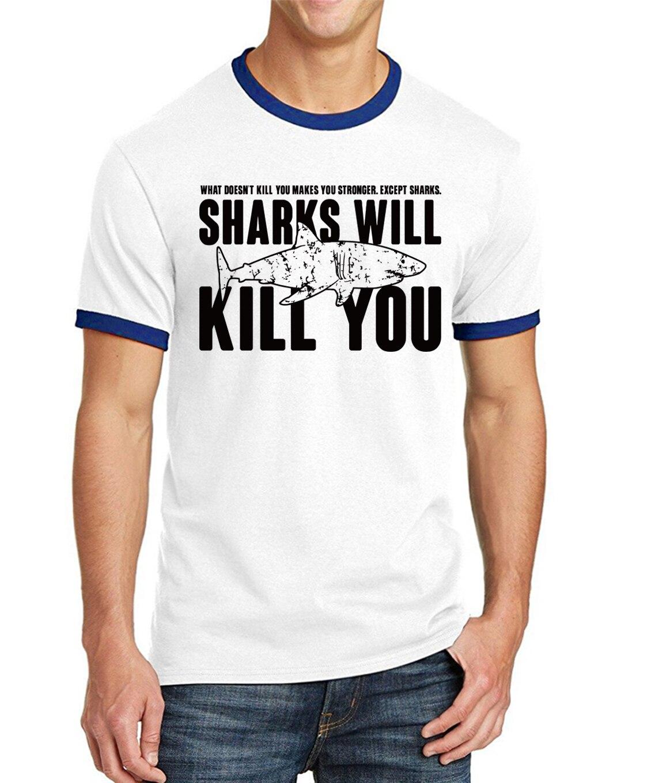 """""""Sharks will kill you"""" Shark T-Shirt for Men 6"""
