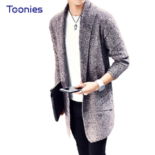 Fashion New Popular Casual Men's Sweater Cardigan Long Warm Turn-down Collar Male's Sweater Solid Male Youth Leisure Top Sales