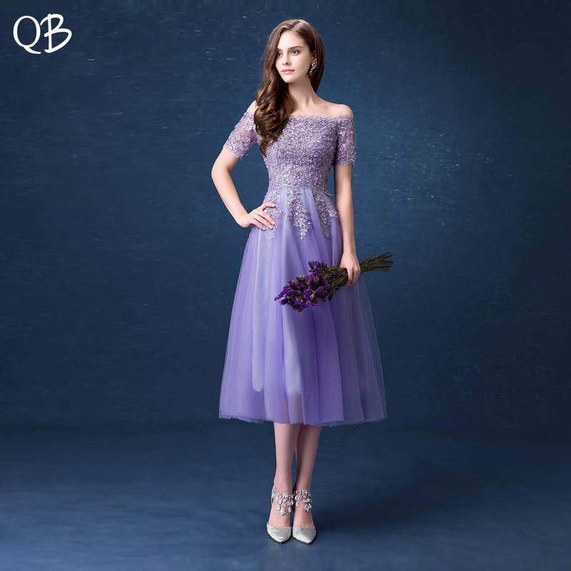 Purple Tea Length with Sleeves A line Tulle Lace Beading Crystal Short Bridesmaid Dresses Women Formal