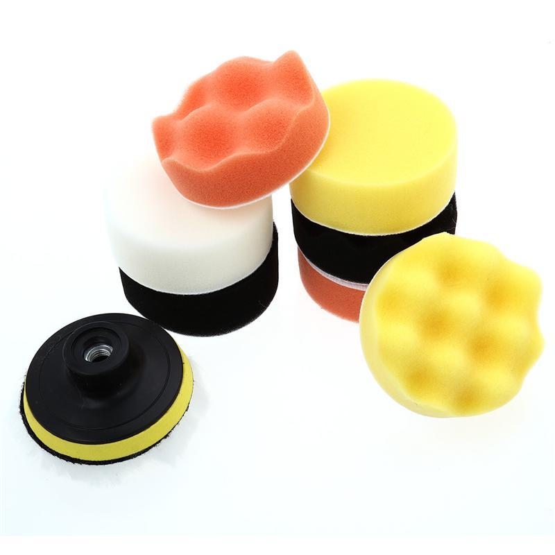 10Pcs/Set 3Inch Compound Drill Buffing Sponge Pads Kit for Car Sanding Polishing Sealing Glaze Waxing Wool