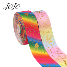 JOJO BOWS 75mm 2y Grosgrain Ribbon Bronzing Printed Gradient Tape For Needlework Clothing Sewing Webbing DIY Hair Bows Materials