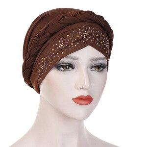 Image 3 - בוהמיה סגנון נשים טורבן כובע אופנה צמת קשר גברת ראש צעיף חיג אב המוסלמי הפנימי חיג אב עבור נשים שיער אביזרי שיער אובדן
