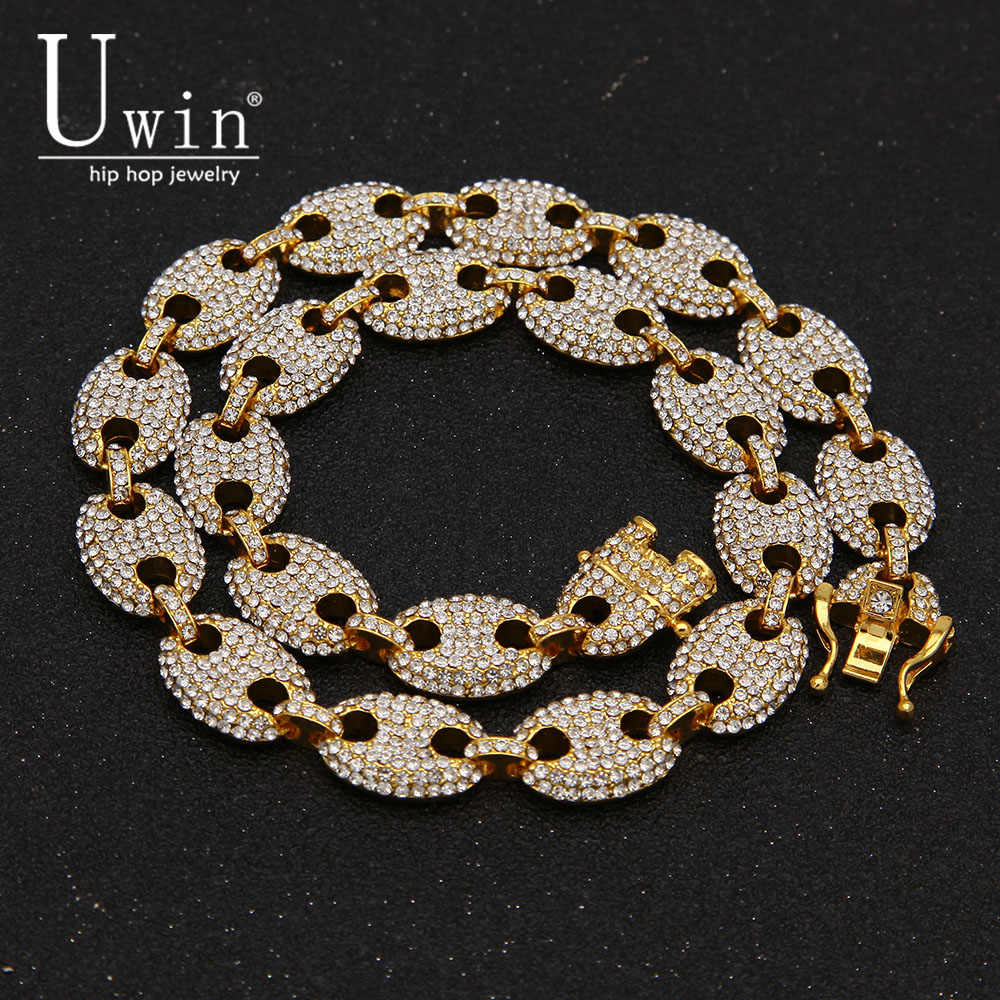 UWIN 13mm Coffee Bean Link Rhinestone Necklace Hip hop Fashion Punk Choker Chain Bling Bling Charms Jewelry 16inch,18inch,20inch