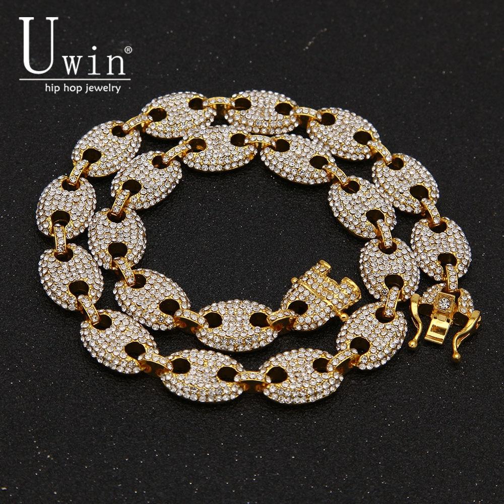 UWIN 13mm grano de café enlace collar de diamantes de imitación de moda Hip hop Punk gargantilla cadena Bling encantos de la joyería de 16 pulgadas ¡18 pulgadas 20 pulgadas