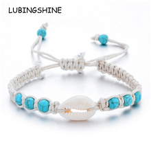Natural Stone Shell Starfish Bracelets Braided Adjustable Rope Chain Bracelet Anklet Wristband Handmade Holiday Beach Jewelry