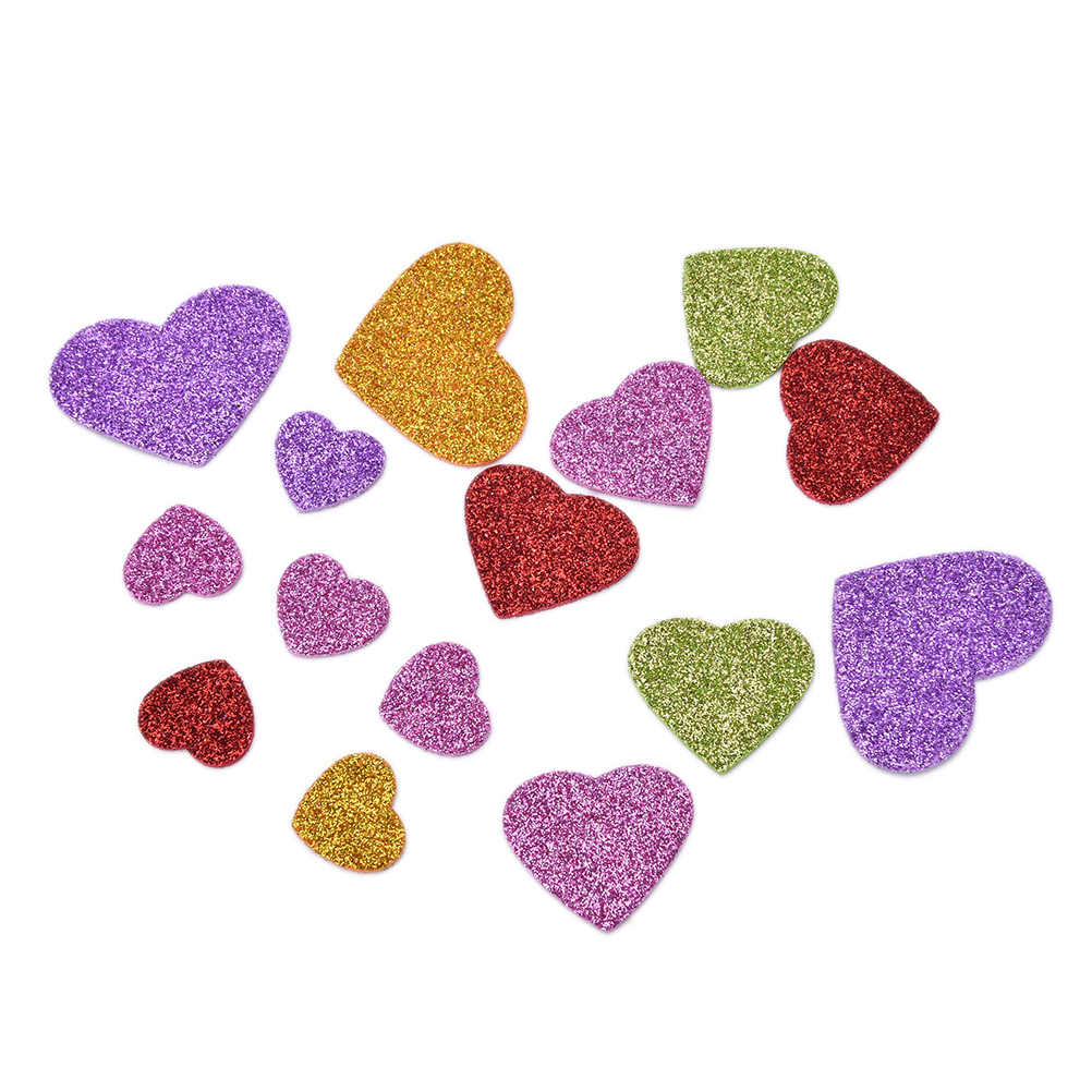 45Pcs/Pack New Colorful Heart Confetti Mixed Size glitter foam heart stickers DIY Scrapbooking craft Kids toy Party Decoration