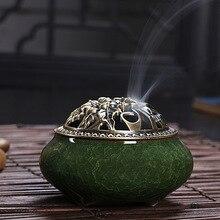 Crackle Glaze Ceramic Incense Base Vintage Incense Burner Joss Sticks Incense Holder Censer Coil Furnace with Copper Alloy Lid