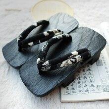 Размер 35-46 Летние Сандалии Японский Гета Гета Деревянные Сабо Тапочки Косплей Мужские Bench SandalsFlat Каблук Косплей Вьетнамки обуви