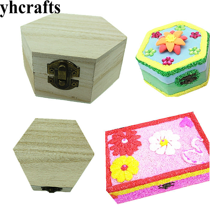 4PCS/LOT.Paint unfinished wood box Jewel case Home supplies Wooden gift box Birthday gift Kindergarten crafts DIY toys