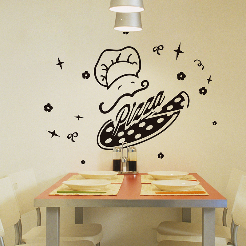 shijuehezi pizza chef wall sticker yummy handmade shop windows sticker decoration for kitchen. Black Bedroom Furniture Sets. Home Design Ideas