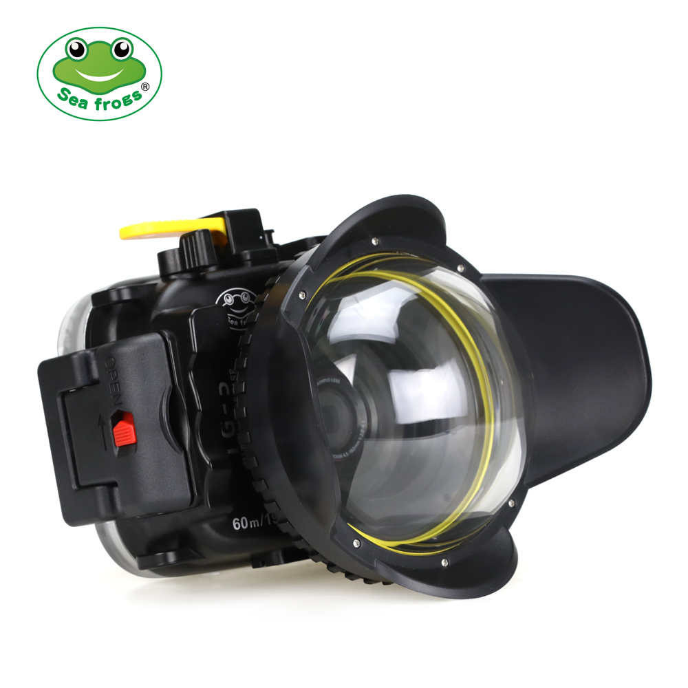 Seafrogs 40m/130ft TG5 Underwater  Case Diving Waterproof Housing for Olympus TG 5 Camera with Red Filter 67mm and Fisheye lens-in Sports Camcorder Cases from Consumer Electronics    1