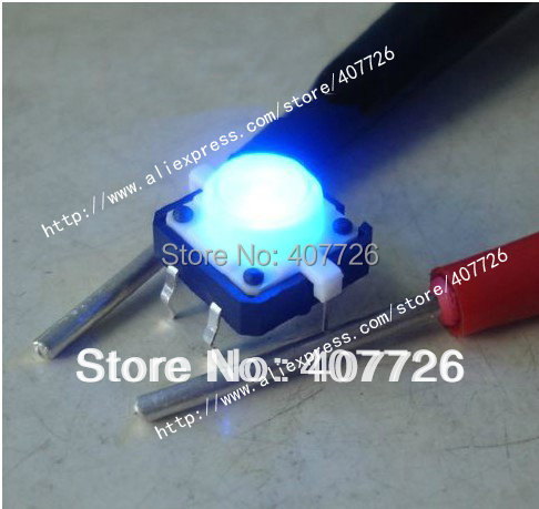 10PCS Push Button Led 3V Tact Switch illuminated 12X12X7.3mm Micro Switch with Light 4PIN DIP PCB mounting