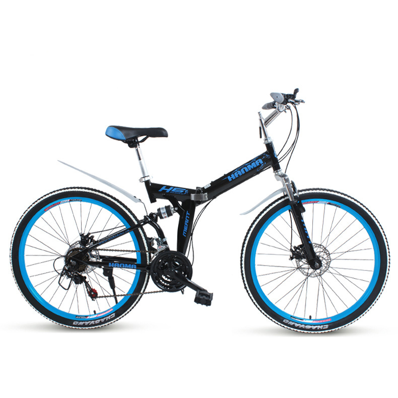 Freeshipping Folding mountain bike 24 inch 26 inch double disc brakes double shock 21 font b