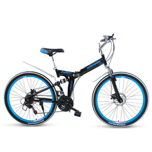 Freeshipping Folding mountain bike 24 inch 26 inch double disc brakes double shock 21 speed students adult men and women cycling