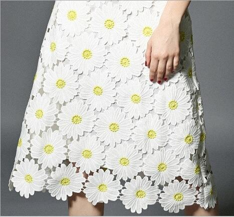 1Yard High Lace Fabric Yellow And White Daisy Flower High Quality Embroidery Cord Lace Fabrics