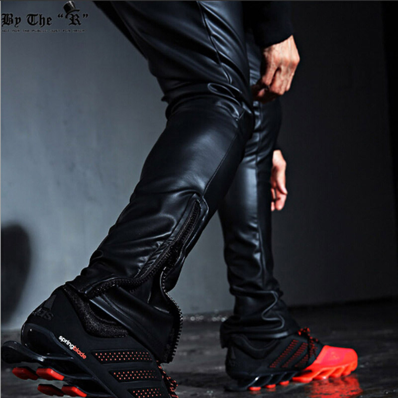 Fashion Men's Punk Rock Armor Simple PU Faux Leather Tie Zip Ankle Pants  Long Trousers Full Length Pants M-2XL 17