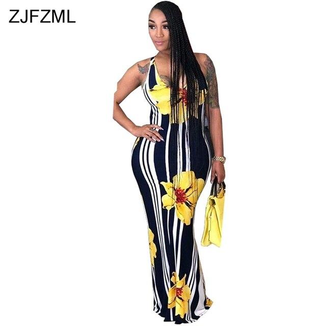 9bfe5898c17 ZJFZML Black White Vertical Striped Summer Beach Dress Women Spaghetti  Strap Floral Print Robe Vintage Back