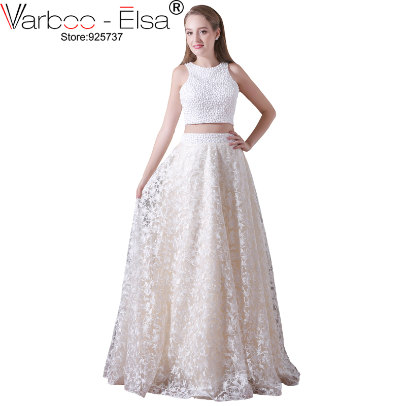 Varboo elsa luxury pearl beaded party dress hand made for Hand beaded wedding dresses