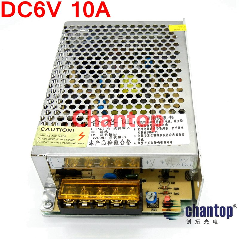 ФОТО free ship DC 6V10A 60W switching power supply S-60-6 model input AC110V-220V AC to DC power adapter for security Monitoring
