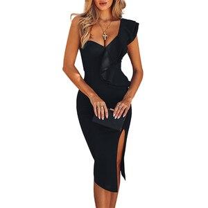Image 3 - Ocstrade新到着 2020 女性ワンショルダー包帯ドレスエレガントなフリル赤包帯ドレスボディコンセクシーなパーティーナイトクラブドレス
