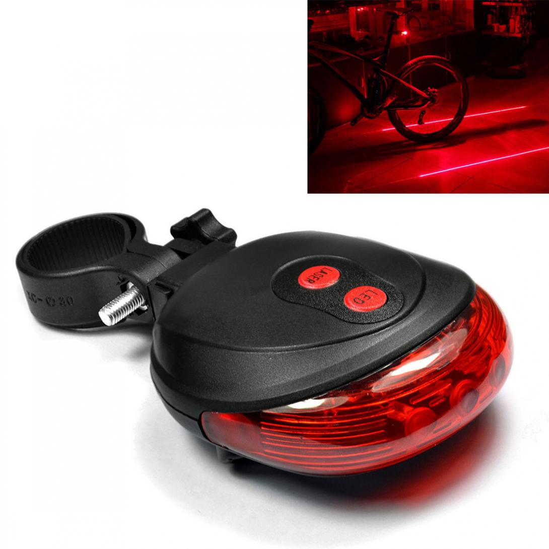 5 LED Rear Cycling Bike Bicycle Tail Light Beam Safety Warning Red Lamp 2 Laser