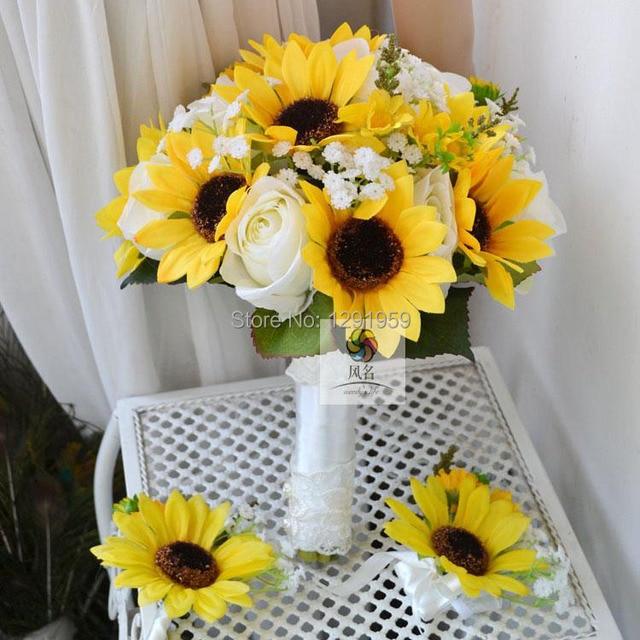 25cm 10 Diameter Artificial Silk Golden Sunflower Babysbreath Rose