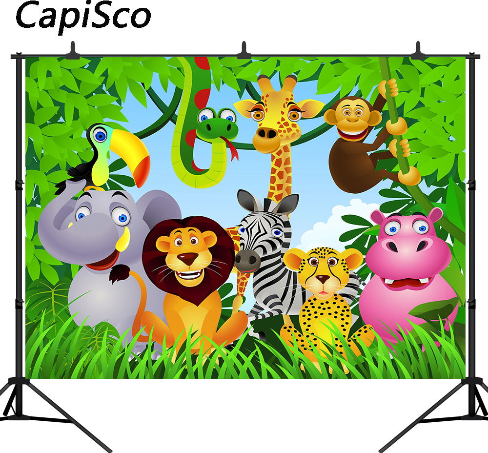 Capisco Jungle Safari Party Photo Backdrop Animals Forest Photography Background Birthday party Theme Party Decoration