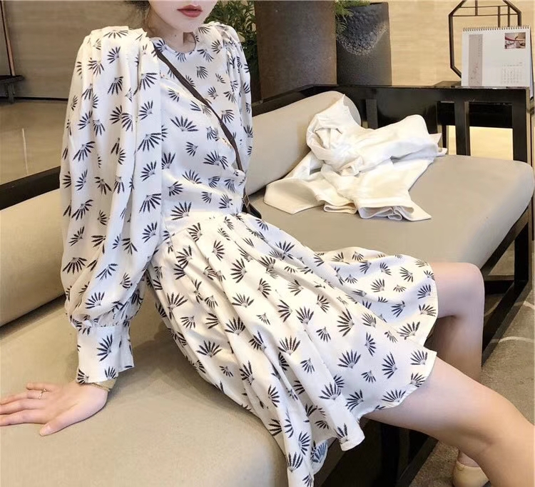 2019 New Silk Wheat Ears Print  Lantern Sleeve O-Neck Luxury Dresses for Women Freeshipping