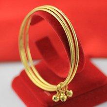 3 шт вместе тонкий браслет Желтое золото Заполненные женские
