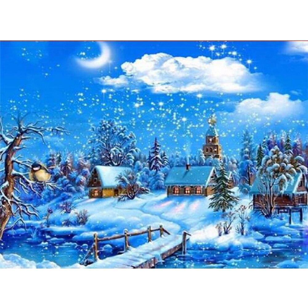 Nieve casa paisaje DIY taladro cuadrado rhinestone pintura pegada Cruz puntada diamante dibujo decoración del hogar K104
