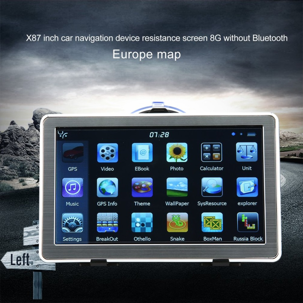 Portable External X8 7 Inch High Definition GPS Car Navigation System Resistance Screen 8G Without Bluetooth(China)