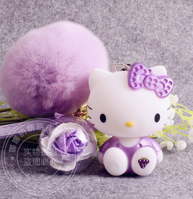 Lovely cartoon anime hello kitty pink cat bunny real rabbit fur lovely cartoon anime hello kitty pink cat bunny real rabbit fur pompom keychain key chain women mightylinksfo