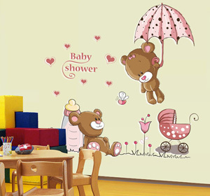 Pink Cartoon Cat Rabbit Flower Wall Sticker For Baby Girls Kids Room-Free Shipping For Kids Rooms