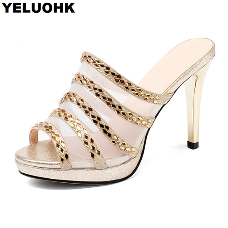 Brand New Rhinestone Shoes Women Sandals High Heels Sexy Summer Shoes Woman Slippers Pumps Stilettos Ladies Shoes Sandals
