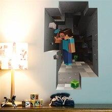 3d популярной игры Minecraft наклейки на стену для игровая площадка для детей украшение комнаты своими руками для мальчиков Спальня Wall Art Наклейки наклейки ПВХ