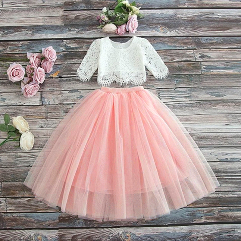 3-8 Years Lace Tutu Layered   Girls   Kids Wedding   Flower     Girl     Dress   Elegant Princess Party Pageant   Dress   Half Sleeve Tulle   Dress