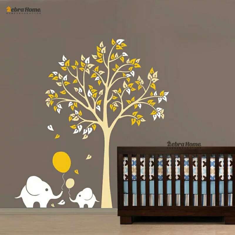 Fil Balon Ağacı Çocuk Oturma Odası Kreş Duvar Çıkartması - Ev Dekoru - Fotoğraf 1
