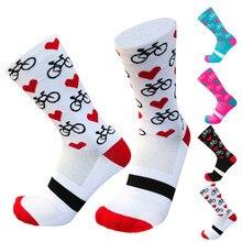 Новые профессиональные спортивные профессиональные велосипедные носки для мужчин и женщин, компрессионные носки для шоссейного велосипеда, носки для горных велосипедов, гоночные Носки с рисунком сердца