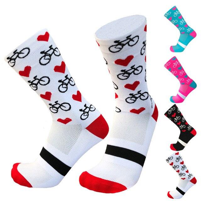 Novo esporte profissional pro meias de ciclismo meias de compressão de estrada meias de bicicleta de montanha meias de corrida padrão de coração 1