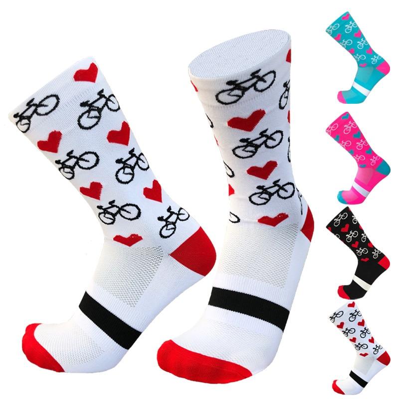 New Professional Sport Pro Cycling Socks Men Women Compression Road Bicycle Socks Mountain Bike Socks Racing Socks Heart Pattern