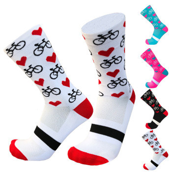 New Professional Sport Pro Cycling Socks Men Women Compression Road Bicycle Mountain Bike Racing Heart Pattern - discount item  30% OFF Sportswear & Accessories