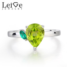 Leige Jewelry Natural Peridot Ring Engagement Ring August Birthstone Ring Pear Cut Green Gemstone 925 Sterling Silver Gifts