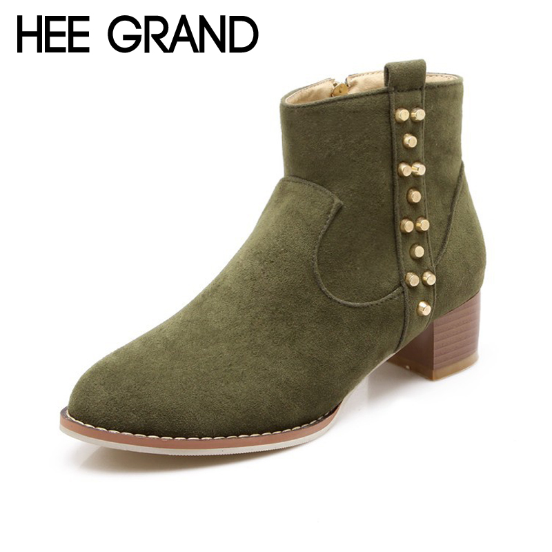 HEE GRAND Women Ankle Boots 2017 Winter Suede High Heels Boots Flock Rivet Gladiator Round toe Shoes Woman Size 35-43 XWX6235 enmayla ankle boots for women low heels autumn and winter boots shoes woman large size 34 43 round toe motorcycle boots